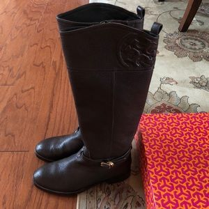 Tory Burch Marlene riding boots- brown(US 7.5)